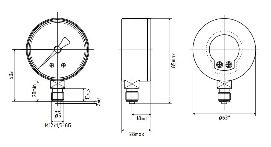 Вакуумметр ВП2-УФ-Р, М12х1,5